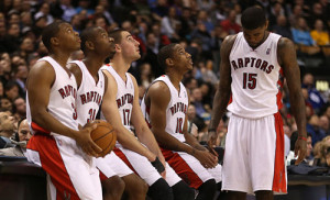 Kyle Lowry, Terrence Ross, Jonas Valanciunas, DeMar DeRozan and Amir Johnson wait for a break to finish as the Toronto Raptors beat the Denver Nuggets 109-108 at Air Canada Centre in Toronto.  February 12, 2013  STEVE RUSSELL/TORONTO STAR